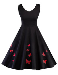 Chinese  Scalloped Neckline Chic Butterfly-embroidery Slim Waist Flare Dress 50s Retro Hepburn Style Sleeveless Dress manufacturers