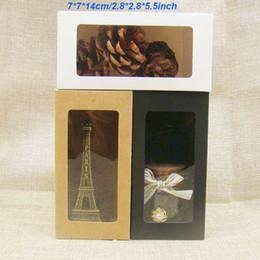 $enCountryForm.capitalKeyWord Australia - 7*7*14cm white black craft paper window box,black package paper gift  candy  wedding favor box with clear window