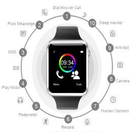 Bluetooth Smart Watch Sim Australia - Factory A1 WristWatch Bluetooth Smart Watch Sport Pedometer With SIM Camera Smartwatch for Android HUAWEI not GT08 DZ09