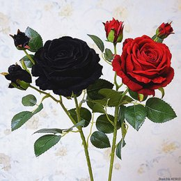 artificial valentines gifts Canada - Cheap Artificial & Dried Luxury black rose branch Velvet Simulation Artificial Valentine gift wedding flowers Home decoration roses flores