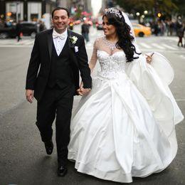 $enCountryForm.capitalKeyWord Australia - Classic Satin Princess Wedding Dresses Crystal Bead Neck Illusion Sleeve Church Wedding Gown Puffy Skirt Court Train Bridal Dress