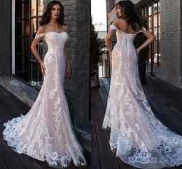 Wholesale ruffle t shirt for sale – custom 2019 Luxury Blush Pink Off Shoulder Wedding Dress Elegant Lace Appliqued Mermaid Beach Bohemain Plus Size Bridal Gown BC2449