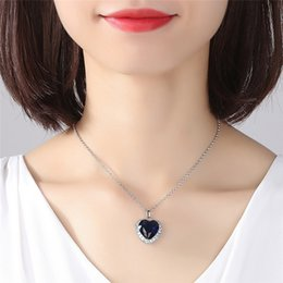 Necklaces Pendants Australia - New Blue Ocean Heart Necklace Blue Crystal Pendant Korean Silver Decoration Wedding Leisure Necklace Pendant Birthday Gifts Jewelry CPA1874