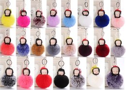 baby sleeping bag hats NZ - High quality Fluffy Sleeping Baby Doll 8cm Hat Keychain Faux Rabbit Fur Bag Pom Pom helmet Key Ring Soft Pendant DHL