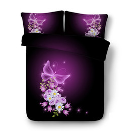$enCountryForm.capitalKeyWord UK - Purple coverlet Butterfly Pink Flower 3pc Duvet Cover Set With Zipper Closure 2 Pillow Shams Galaxy Comforter Cover Animal bed cover
