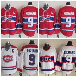 13b3540fcd6 100% Embroidery 1946 Maurice Richard Montreal Canadiens Hockey Jerseys CCM  Vintage White Mens  9 Maurice Richard Jersey Red Stitched C Patch