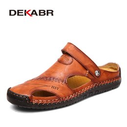 mens leather buckle sandals Australia - Classic Mens Sandals Summer Genuine Leather Male Beach Sandals Soft Comfortable Male Outdoor Beach Slippers Slip-ON Man Sandals CX200618