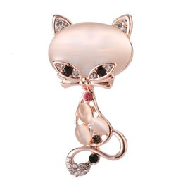 Cute Jewelry For Sale NZ - Hot Sale Opal Stone Fox Brooch Pin for Women Men Suit Shirt Collar Rhinestone Cute Animal Brooches Elegant Jewelry Gift Wholesale