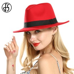 Reds Hat NZ - FS Red Black Patchwork Wide Brim Fedora Vintage Hast For Women Elegant Cotton Ladies Royal Top Hat Round Bowler Cowboy Jazz Cap