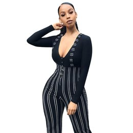 Harem Jumpsuits Women Australia - Jumpsuit Rompers Elegant Women High Waist Harem Pants Women Bowtie Elastic Waist Stripe Casual Jumpsuit Fashion Gift