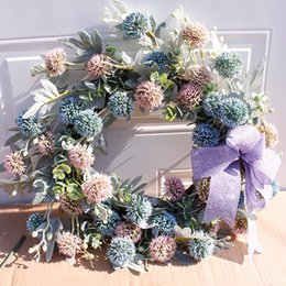 Discount fake window wall Artificial Hydrangea Flower Wreath Home Garden Front Door Walls Window Hanging Fake Flower Garland for Wedding Decoratio