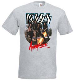 Venta al por mayor de Kiss Animalize camiseta Heather Grey Todos los tamaños S-3XL Camiseta estampada Camiseta de verano para hombre Camisetas divertidas de marca casual Top