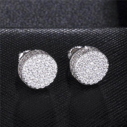 stud backs Australia - Gold and Silver Color Micro Pave CZ Screw Back Stud Earrings for Women Wedding Party Jewelry