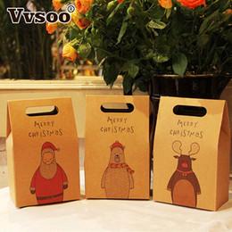 Pattern Cookies Bags Australia - 1pc Paper Gift Bags Retro Elk Pattern Santa Claus Packing Gift Bags Merry Christmas Party Candies Cookie Packaging