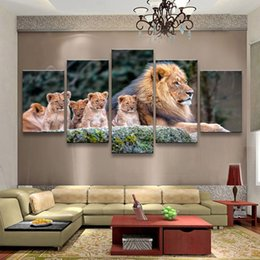$enCountryForm.capitalKeyWord Australia - Wall Art Modular Poster Pictures Painting 5 Panel Animals Lion Framework HD Printed Modern Canvas Living Room Home Decoration