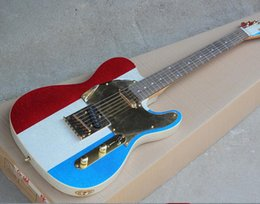 $enCountryForm.capitalKeyWord Australia - 2019 new Factory Red White and Blue Electric Guitar with Shiny Paint,Gold Pickguard,String-Thru Body,Rosewood Fretboard,Can be Customized