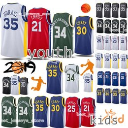curry shirts NZ - 34 Antetokounmpo Kids Kit 25 Simmons 30 Curry jersey 21 Embiid 35 Durant Child 18 19 Shirts uniform Basketball Jerseys