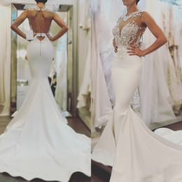 high quality wedding dresses Canada - Elegant Mermaid Wedding Dresses Fashion High Quality Lace Bridal Gowns open back fishtail Long Wedding Gowns Vestido De Novia Bridal Gowns