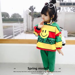 $enCountryForm.capitalKeyWord Australia - New smiling face Girls Outfits Fashion cute Kids Sets stripe T shirt+trousers pants kids tracksuit Girls tracksuit casual suits A4040