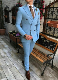 Double breasteD peak lapel tuxeDo online shopping - Popular Double Breasted Light Blue Groom Tuxedos Peak Lapel Men Suits pieces Wedding Prom Dinner Blazer Jacket Pants Tie W1052