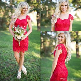 $enCountryForm.capitalKeyWord Australia - Red Lace Cocktail Dresses Short Sheath Prom Gowns Cap Sleeve Knee Length with Appliques Celebrity Gowns Custom Country Style