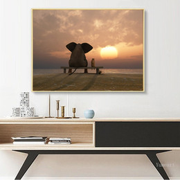 elephant canvas oil paintings abstract Australia - Kids Room Decoration Africa Elephant Animal Landscape Oil Painting on Canvas Art Poster and Print Abstract Wall Art Pictures