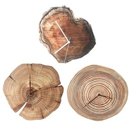 Round wood wall clocks online shopping - Retro Wood Grain Wall Clock cm Large Acrylic Marble Round Digital Hanging Clocks Unique Gift Best Selling Home Suppliers