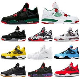 Wholesale 4s Pizzeria White IV Bred Mens Basketball Shoes Tattoo Singles Day Lightning Black Gum Fire Red Outdoor Trainers Athletic Sports Sneakers