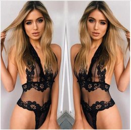black see through teddy Canada - Erotic Lingerie Sey Women Lace Perspective Babydoll Sexy Teddy Lingerie Hot Open Bra Halter Temptation Lenceria Sexy Underwear