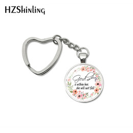 $enCountryForm.capitalKeyWord Australia - 2019 Fashion Bible Quote Keychain God Is Within Her , She Is Not Fall Verse Christian Jewelry Bag Car Holder Keyring Gifts