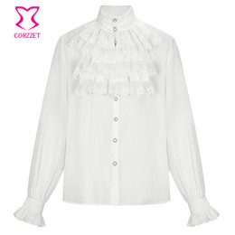 $enCountryForm.capitalKeyWord Australia - White Lace Ruffled Stand Collar Long Sleeve Victorian Medieval Cosplay Vintage Shirt Men Gothic Top Plus Size Steampunk Clothes