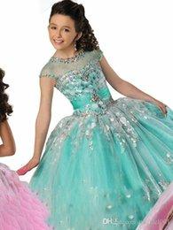 2019 de Ritzee Pageant Girl Dresses frisados Ruffles Sheer Neck Comprimento vestido de baile Chão-de-rosa flor azul vestidos da menina de lantejoulas Vestido em Promoção