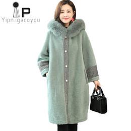 $enCountryForm.capitalKeyWord NZ - Winter Faux Sheepskin Coat Women Long Fox Fur Collar Hooded Fake Fur Jacket Women Outerwear Plus size Warm Ladies Faux Coat