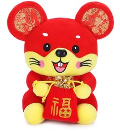 chinese plush Australia - 20cm New brand 2020 Rat Year Mascot Toy New Year Plush Rad Mouse Soft Doll Chinese New Year Party Decoration Gift