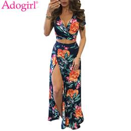 4e7f7cbdf12 Adogirl Floral Print Two Piece Bohemian Dress Sexy Wrap V Neck Short Sleeve  Crop Top High Slit Maxi Summer Beach Dresses Vestido C19041001