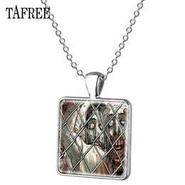 $enCountryForm.capitalKeyWord Australia - TAFREE The Walking Dead Square Pendants Necklace Novelty Cool Silver Plated Metal Choker Necklaces Statement For Men Women Jewelry QF115