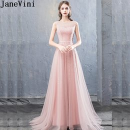 JaneVini Illusion Tulle Beaded Prom Dresses Long Shiny Sequined Evening  Gowns Light Pink Formal Party Dress Formal Gala Jurken 2019 06f3f39ca0df
