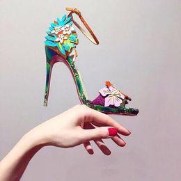 SandalS flower covering toe online shopping - New designer flowers women fashion stiletto heel party dress pumps open toe ankle strap high heels sandals size