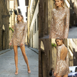 Berta evening gowns online shopping - 2020 Berta Champagne Prom Dresses High Collar Sequins Sexy Backless Long Sleeve Evening Gowns Custom Made Short Cocktail Dress Party Wear