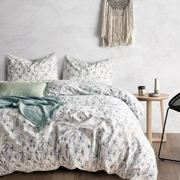 $enCountryForm.capitalKeyWord Australia - Lucky Home King Size 3-Piece Cotton Handing Painting Floral Duvet Cover Bedding Set Soft Fashion Zipper Closure Sheet Set for Adults Bedding