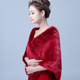 $enCountryForm.capitalKeyWord UK - Free Shipping Burgundy Faux Fur Cape Winter Shrug Stole Wrap Wedding Bridal Wraps Shawl Bolero Jacket Coat Bridal Accessory Cheap