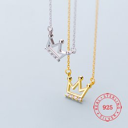 $enCountryForm.capitalKeyWord Australia - gold plated initial necklace 925 Sterling Silver Crown Pendant Necklaces For Women White Zircon fashion necklace fine jewelry