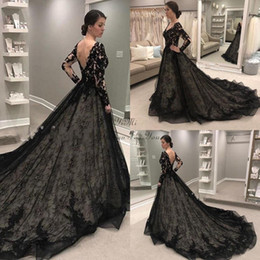 $enCountryForm.capitalKeyWord Australia - 2019 Gothic Black Wedding Dresses A Line V Neck Lace Applique Bridal Gowns Long Sleeve Sweep Train Country Chapel Wedding Gowns