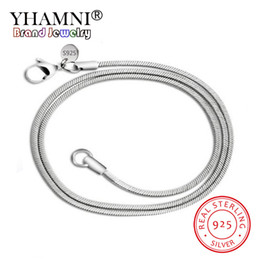 Long 24 Inch Chain Australia - YHAMNI Original Solid 925 Silver Snake Chain Necklace for Woman Men 16-24 inch Long Statement Necklace Jewelry Wholesale YN192