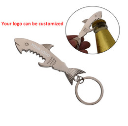 ring style bottle NZ - Wholesale Creative shark style Beer Bottle Opener Party Decoration Supplies promotional gift Bottle Lid Opener portable Key ring opener