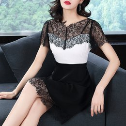 $enCountryForm.capitalKeyWord NZ - High Quality Summer Dress 2018 New Vestidos Women v collar slim Stitching Lace Hollow dress female