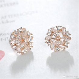 Brass Needles Australia - High quality brass earrings Micro setting only beautiful zircon snowflake earrings (925 sterling silver needle, allergy free) HW-44