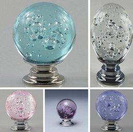 Crystal Ball Base Australia - European lake blue bubble ball drawer furniture handle 30MM aluminum base K9 crystal handle