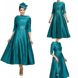 $enCountryForm.capitalKeyWord NZ - Elegant Lace Mother of the Bride Dresses Half Sleeves Tea Length Bateau Neck Wedding Guest Dress Custom Made Prom Dress Evening Gowns