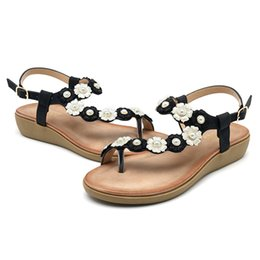 $enCountryForm.capitalKeyWord Australia - Hot Sale-Women Flower Floral Clip Toe Casual Bohemia Soft Flowers Leather Buckle Flat Sandals Summer Casual Shoes Slides New